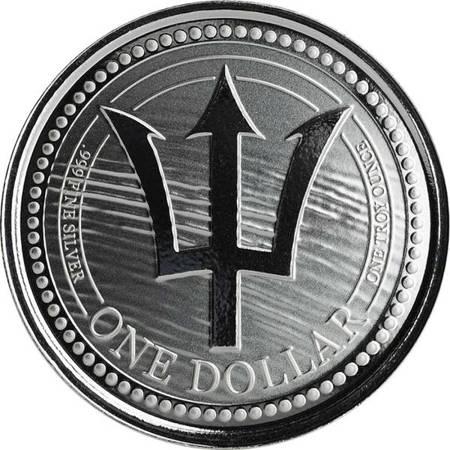 Srebrna Moneta Barbados Trident 1 uncja 24h