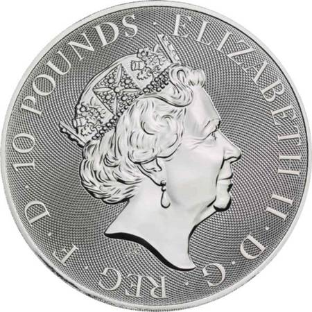 Srebrna Moneta Bestie Królowej: White Lion of Mortimer 10 uncji