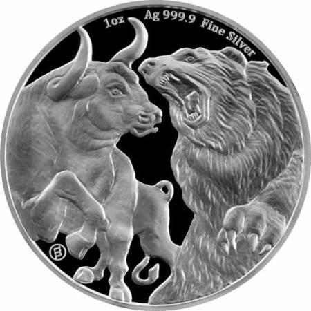 Srebrna Moneta Byk i Niedźwiedź 1 uncja 24h