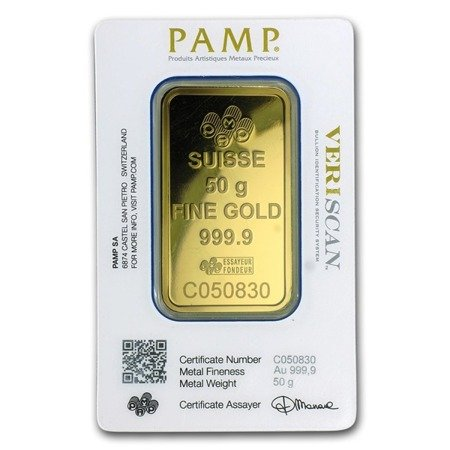Sztabka Złota PAMP CertiCard 50g 24h