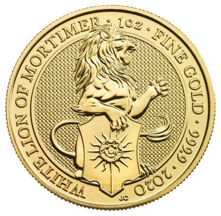 Złota Moneta Bestie Królowej: White Lion of Mortimer 1 uncja