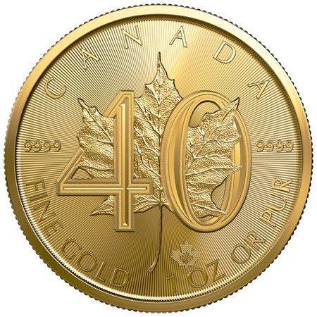 Złota Moneta Kanadyjski Liść Klonowy 1 uncja - 40. rocznica LIMITOWANA